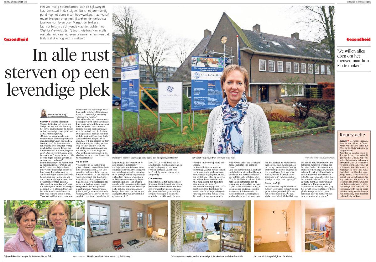 krantenartikel De Gooi en Eemlander dec 2016